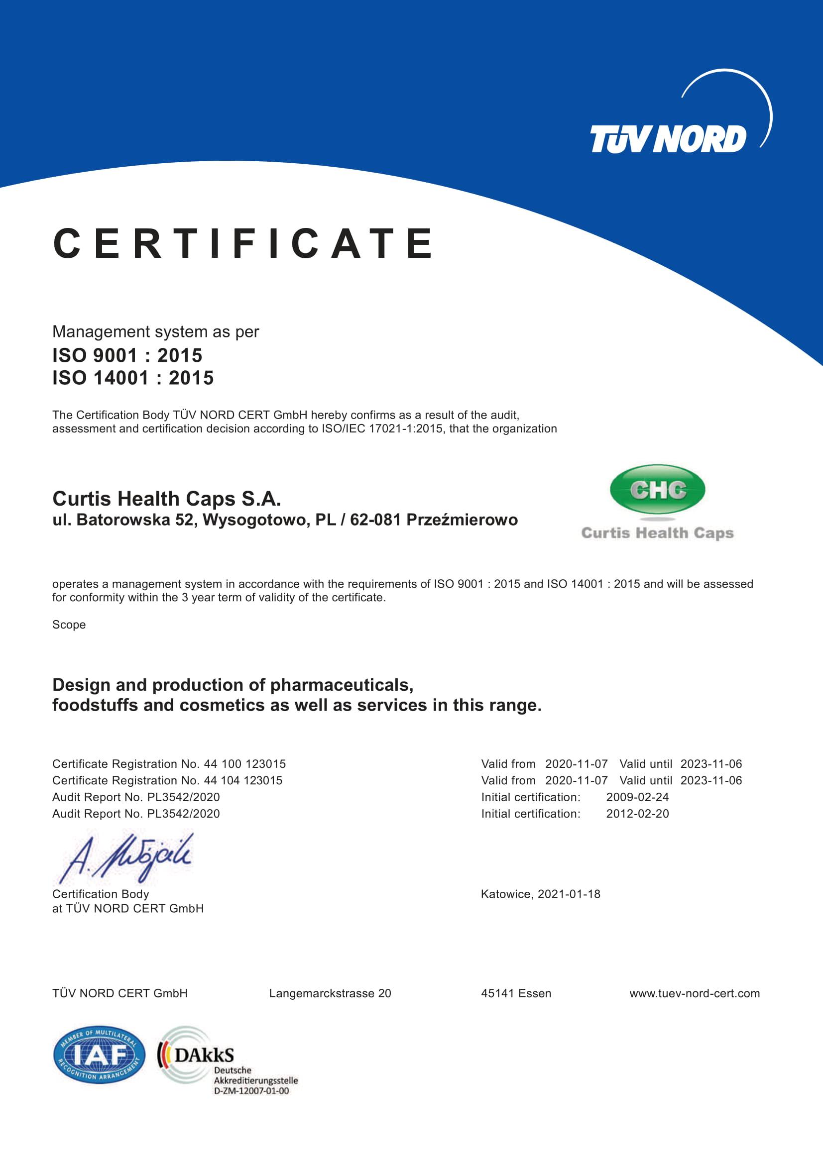 iso chc certificates pn