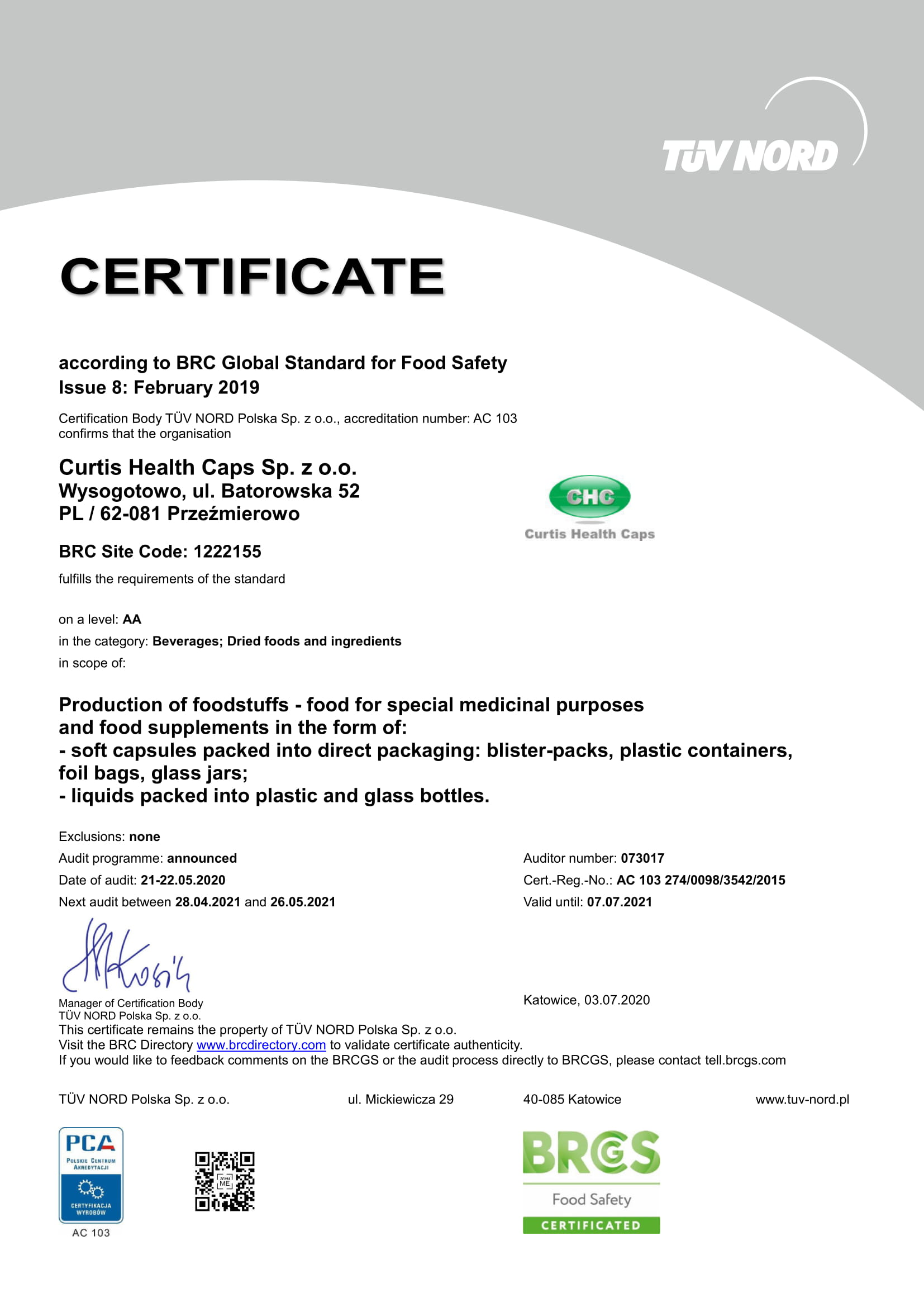 brc chc certificates 8t safety standard global edition